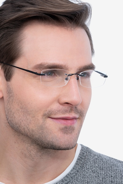Clem Black Metal Eyeglass Frames for Men from EyeBuyDirect, Front View