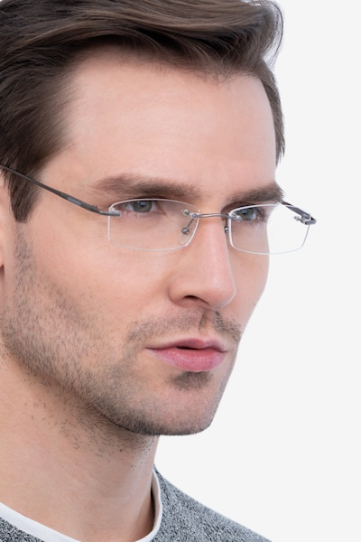 Connie Gunmetal Metal Eyeglass Frames for Men from EyeBuyDirect, Front View
