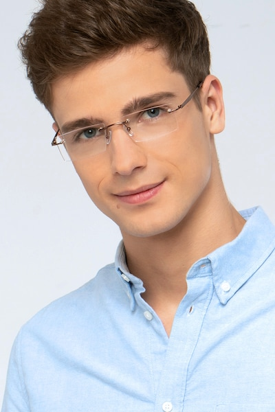 Primo Coffee Metal Eyeglass Frames for Men from EyeBuyDirect, Front View