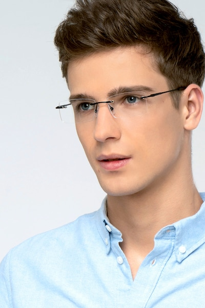 Earl Black Metal Eyeglass Frames for Men from EyeBuyDirect, Front View