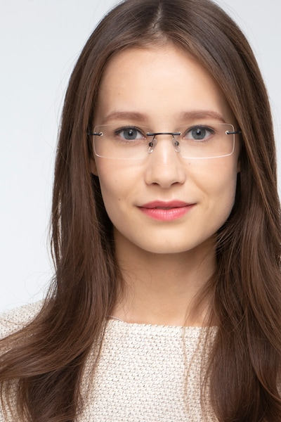 Earl Black Metal Eyeglass Frames for Women from EyeBuyDirect, Front View