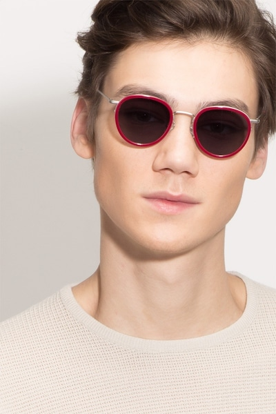 Siena Red Acetate Sunglass Frames for Men from EyeBuyDirect, Front View