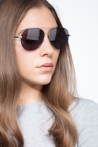 Camp  Black Silver  Metal Sunglass Frames for Women from EyeBuyDirect, Front View