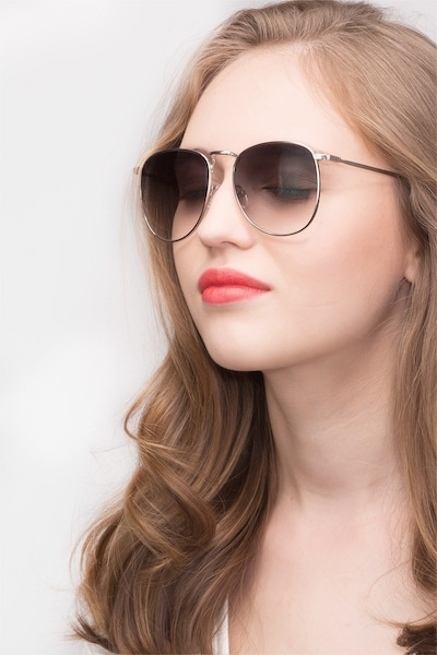Fume Silver Metal Sunglass Frames for Women from EyeBuyDirect, Front View