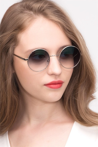 Guru Silver Metal Sunglass Frames for Women from EyeBuyDirect, Front View