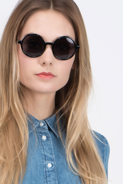 Alena Black Acetate Sunglass Frames for Women from EyeBuyDirect, Front View
