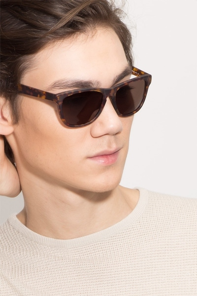 Malibu Brown/Tortoise Acetate Sunglass Frames for Men from EyeBuyDirect, Front View