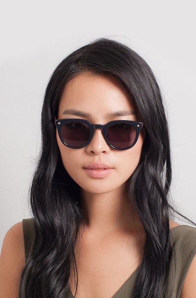 Zoe Navy Plastic Sunglass Frames for Women from EyeBuyDirect, Front View