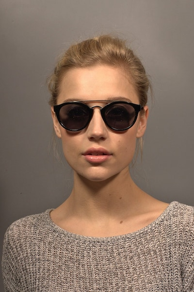 Enzo Black Acetate Sunglass Frames for Women from EyeBuyDirect, Front View