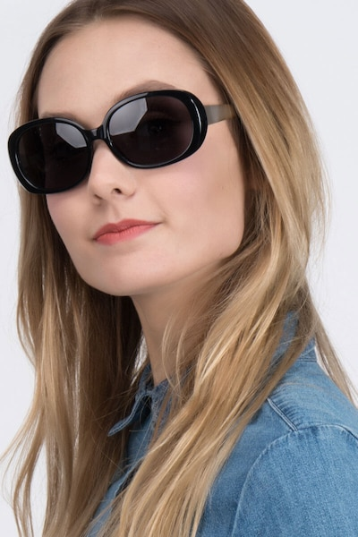 Lauren Black Plastic Sunglass Frames for Women from EyeBuyDirect, Front View