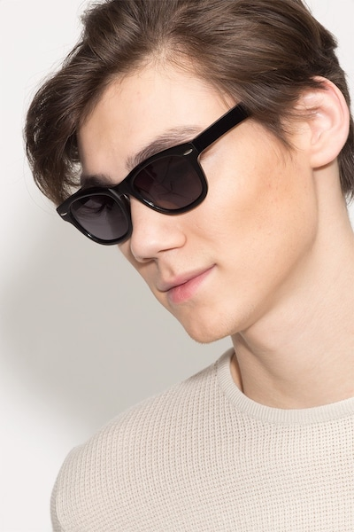 Hanoi Black Acetate Sunglass Frames for Men from EyeBuyDirect, Front View