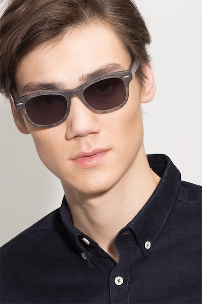 Hanoi Clear Floral Acetate Sunglass Frames for Men from EyeBuyDirect, Front View