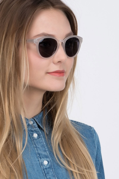 Augustine White Clear Acetate Sunglass Frames for Women from EyeBuyDirect, Front View