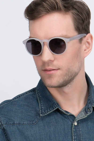 Havana Matte Clear Acetate Sunglass Frames for Men from EyeBuyDirect, Front View