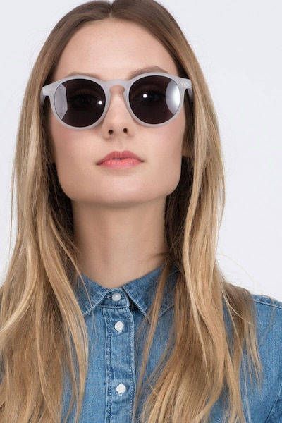 Havana Matte Clear Acetate Sunglass Frames for Women from EyeBuyDirect, Front View