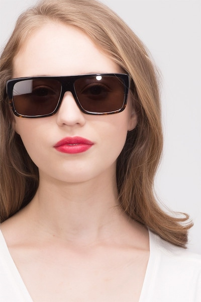 Fresh Black Tortoise Acetate Sunglass Frames for Women from EyeBuyDirect, Front View