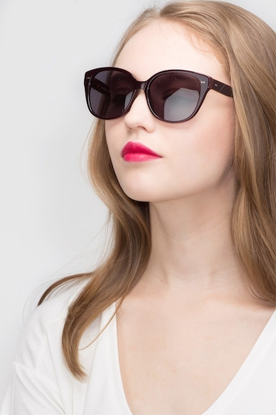 Lune Noire  Dark Red  Acetate Sunglass Frames for Women from EyeBuyDirect, Front View