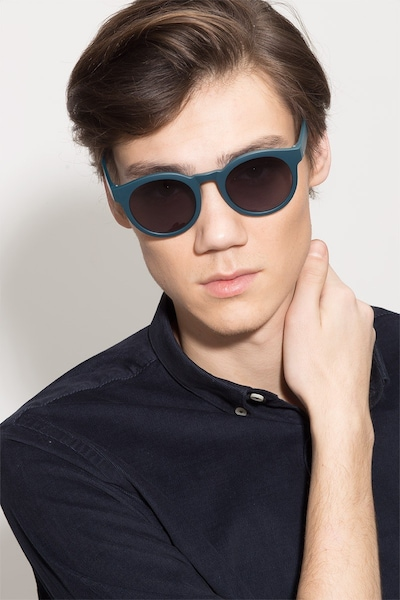 Oasis Matte Blue Plastic Sunglass Frames for Men from EyeBuyDirect, Front View