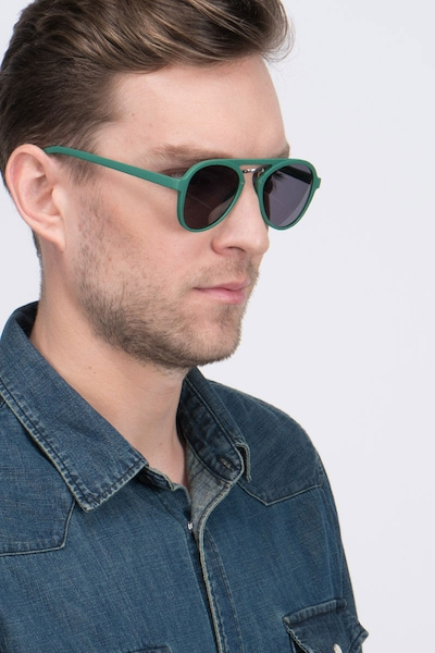 Chips Green Plastic Sunglass Frames for Men from EyeBuyDirect, Front View