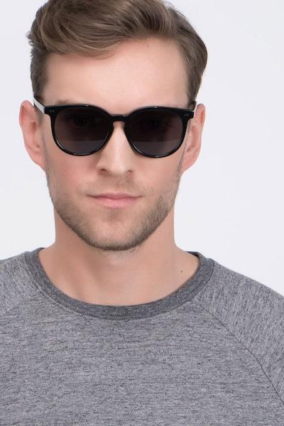 Meraki Black Acetate Sunglass Frames for Men from EyeBuyDirect, Front View