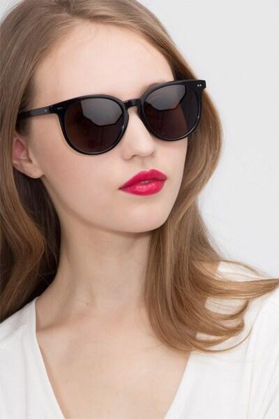 Meraki Black Acetate Sunglass Frames for Women from EyeBuyDirect, Front View