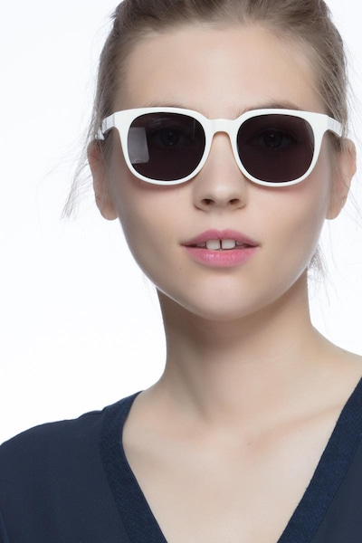 Tempest White Acetate Sunglass Frames for Women from EyeBuyDirect, Front View