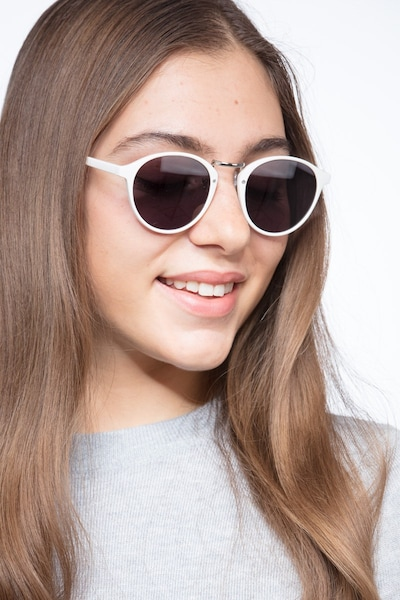 Millenium White Plastic Sunglass Frames for Women from EyeBuyDirect, Front View