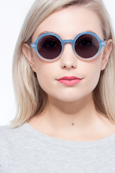 Solstice Blue Clear Plastic Sunglass Frames for Women from EyeBuyDirect, Front View