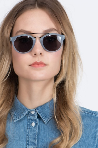 Enzo Clear/Blue Acetate Sunglass Frames for Women from EyeBuyDirect, Front View