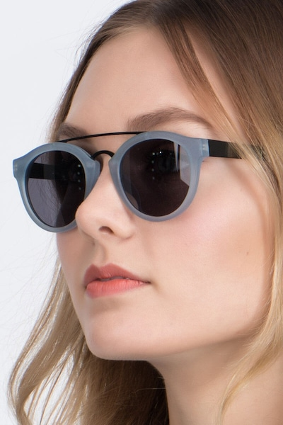 Enzo Clear/Blue Acetate Sunglass Frames for Women from EyeBuyDirect