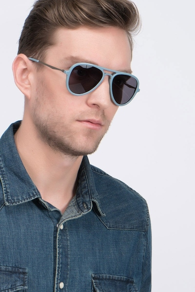 Riot  Light Blue  Acetate Sunglass Frames for Men from EyeBuyDirect, Front View