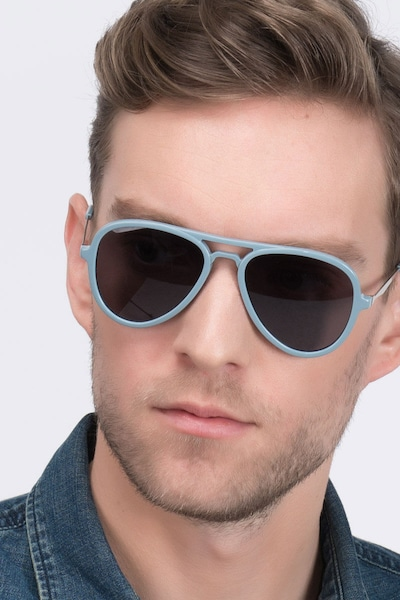 Riot  Light Blue  Acetate Sunglass Frames for Men from EyeBuyDirect