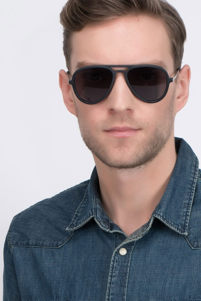 Riot Matte Black Acetate Sunglass Frames for Men from EyeBuyDirect, Front View