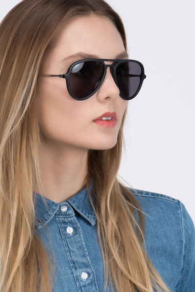 Riot Matte Black Acetate Sunglass Frames for Women from EyeBuyDirect, Front View
