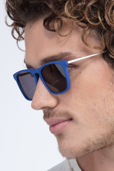 Bogota Matte Blue Acetate Sunglass Frames for Men from EyeBuyDirect
