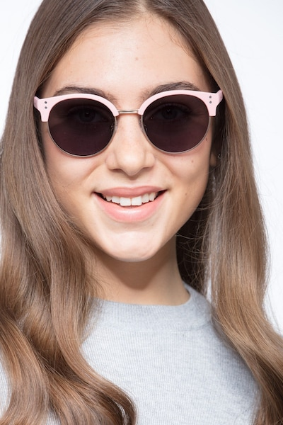 Samba Pink Metal Sunglass Frames for Women from EyeBuyDirect, Front View