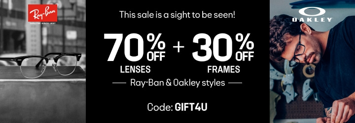 This sale is a sight to be seen! 30% OFF FRAMES + 70% OFF LENSES  Ray-Ban & Oakley styles Code:G