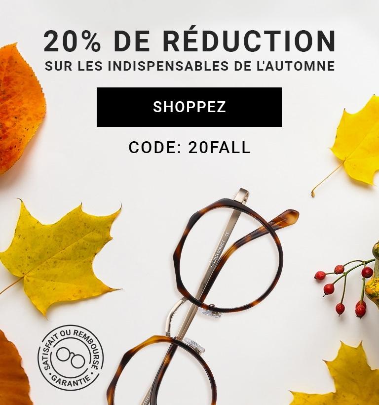 20% de réduction  sur les indispensables de l'automne